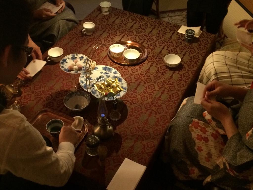 奈良 nara 三五夜 隠れ家サロン 茶道 茶の湯 お茶 抹茶 珠光茶会 趣向 見立て テーブル茶道 立礼 ティーカップ ティーウォーマー JR奈良 徒歩2分 三網田