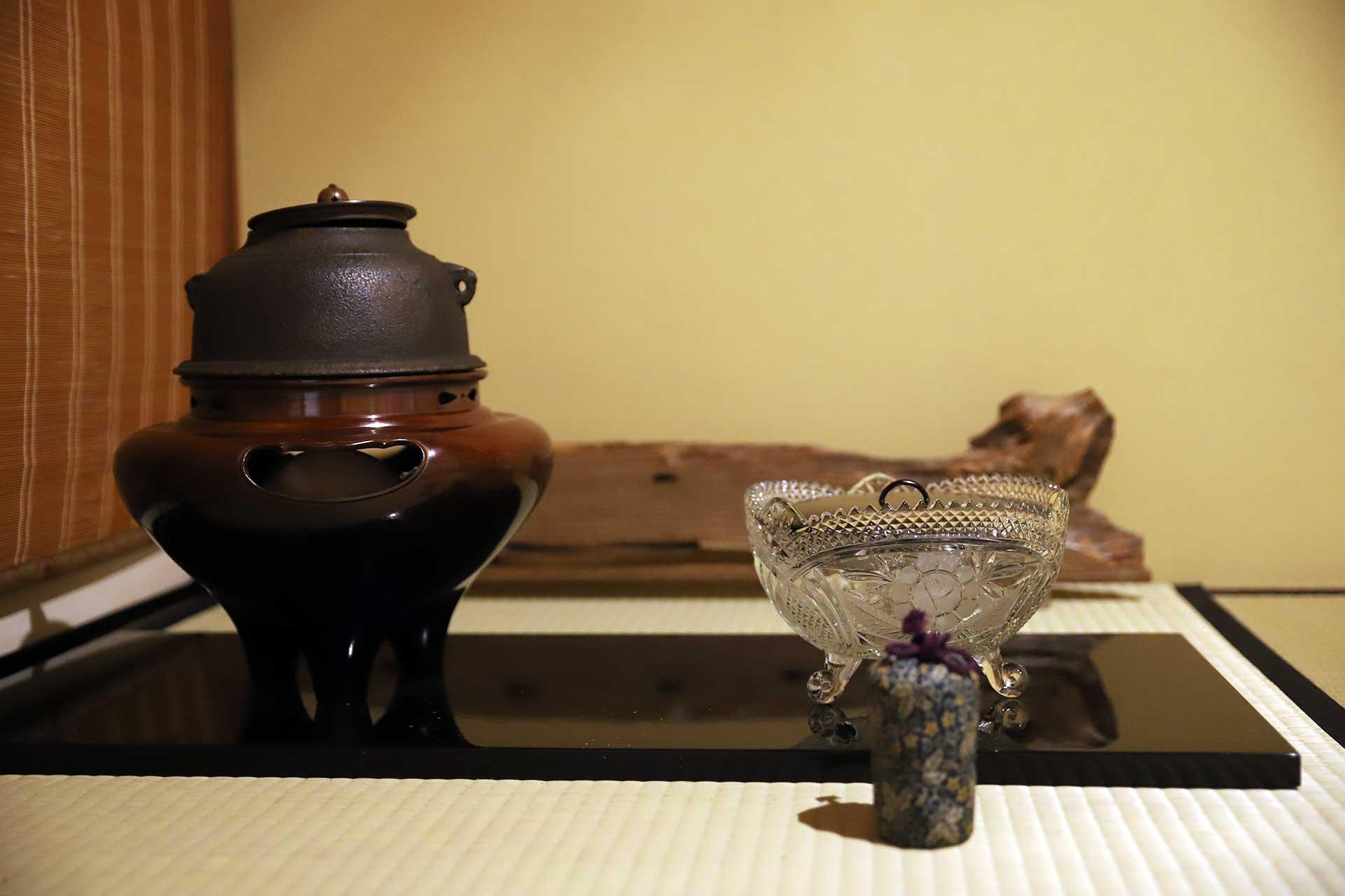 奈良 三五夜 月釜 茶会 義山 水指 蓮 蓮池