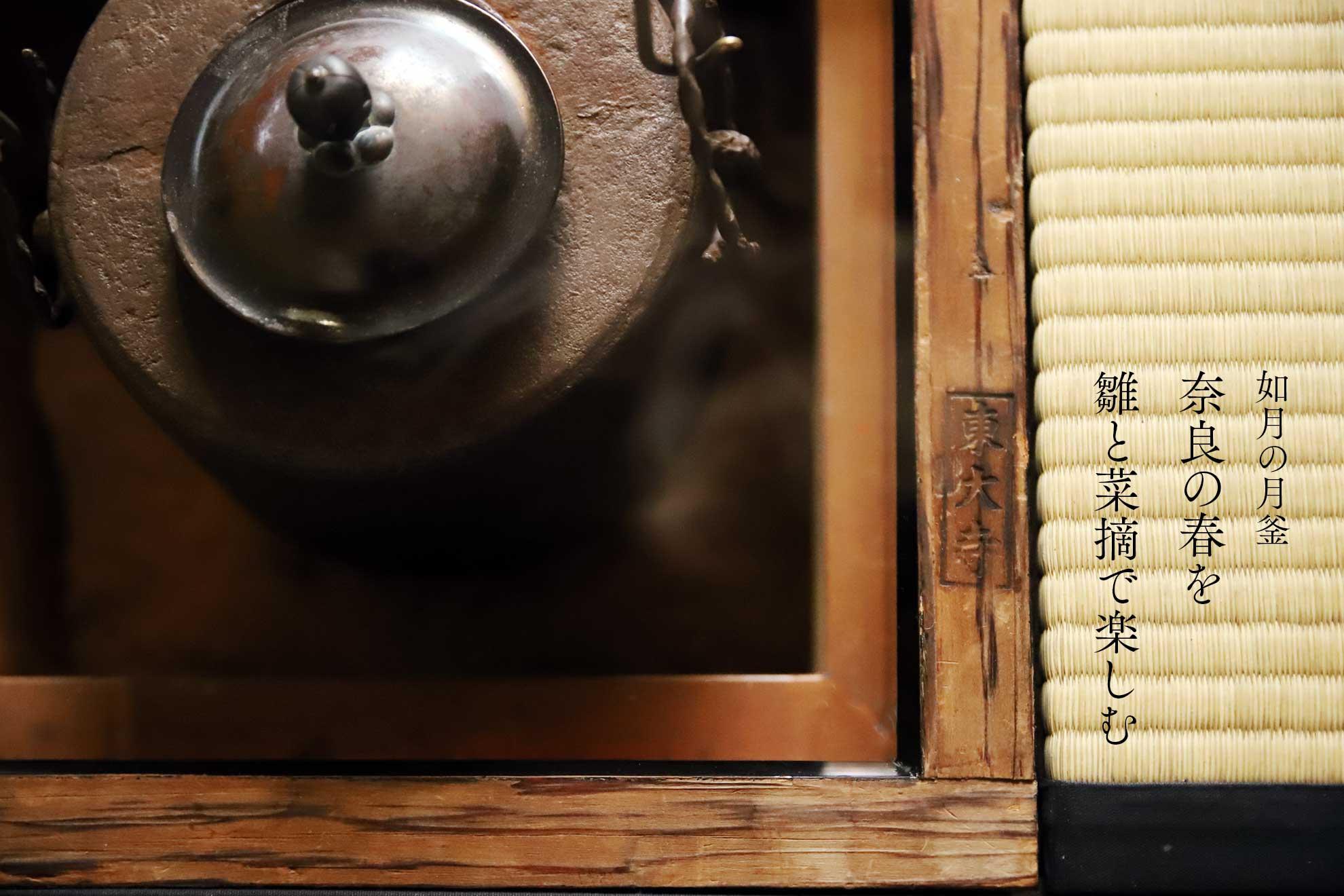 奈良 茶道 体験 nara 三五夜 さんごや 三五屋 茶会 茶室 隠れ家 にじり口 炭 炉 初釜 のりこぼし 南無観椿 中西与三郎 けご 散華 黄身餡 お水取り 修二会 ひな祭り 桃の節句 釣釜 浄益 筒釜 東大寺 近江八景 三井寺の梵鐘 一刀彫り お内裏様 お雛様 三人官女 右大臣 左大臣 右近の橘 左近の桜 犬函